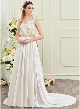 A-Line/Princess V-neck Court Train Chiffon Wedding Dress