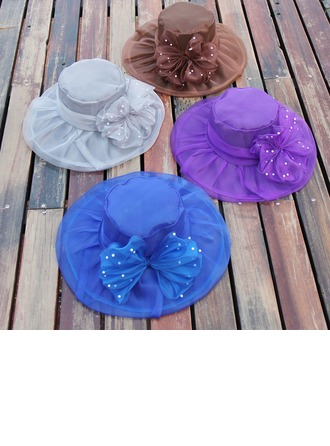 Ladies' Beautiful Organza With Bowknot Floppy Hat