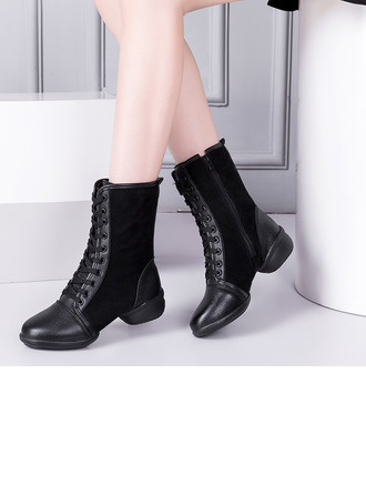 Women's Leatherette Suede Boots Sneakers Modern Jazz Sneakers Dance Boots Dance Shoes