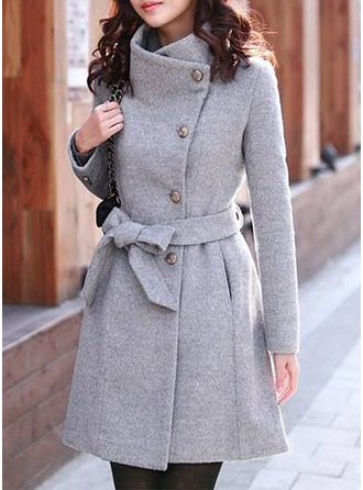 Polyester Long Sleeves Plain Slim Fit Coats ()