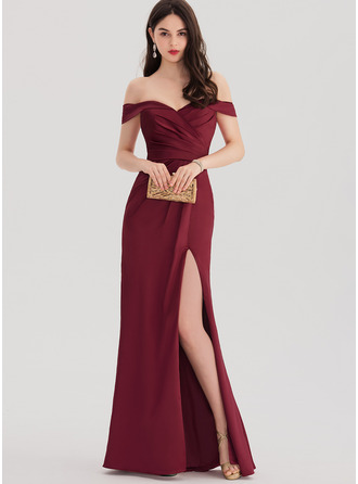 Sheath/Column Off-the-Shoulder Floor-Length Satin Prom Dresses