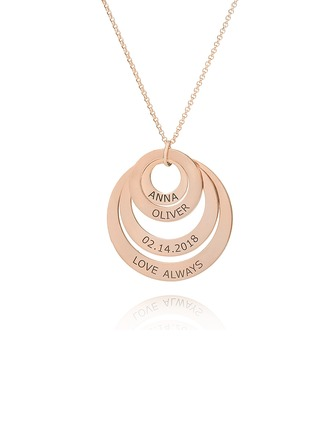 Custom 18k Rose Gold Plated Engraving/Engraved Circle Family Four Name Necklace Circle Necklace With Kids Names - Birthday Gifts Mother's Day Gifts (288215486)