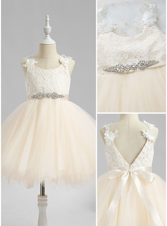 Ball-Gown/Princess Knee-length Flower Girl Dress - Sleeveless Scalloped Neck With Beading V Back