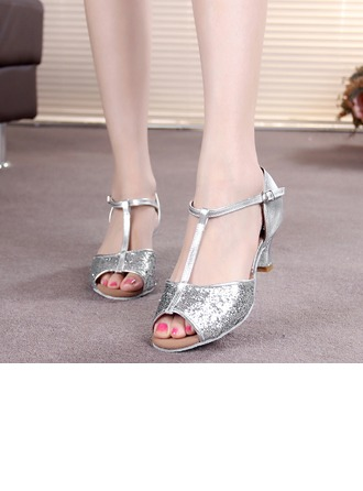 Women's Leatherette Sparkling Glitter Heels Sandals Latin With T-Strap Buckle Dance Shoes