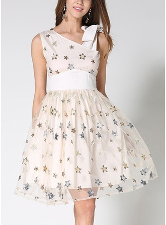 Polyester With Sequins/Embroidery Above Knee Dress