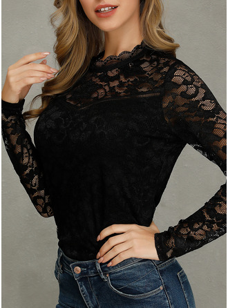 Long Sleeves Lace Round Neck Bluzlar