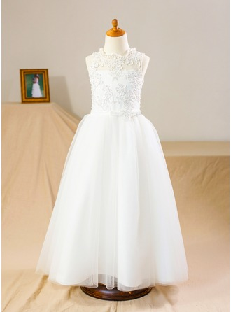 A-Line/Princess Floor-length Flower Girl Dress - Tulle Lace Sleeveless Stand Collar
