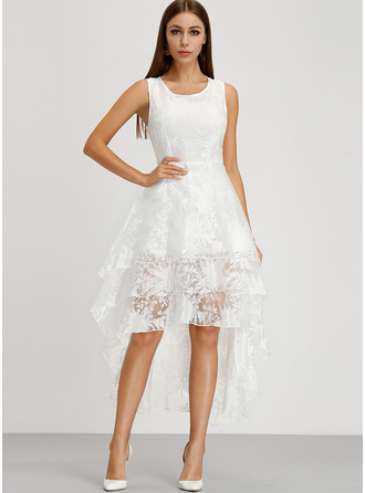 Lace/Organza With Lace Asymmetrical Dress