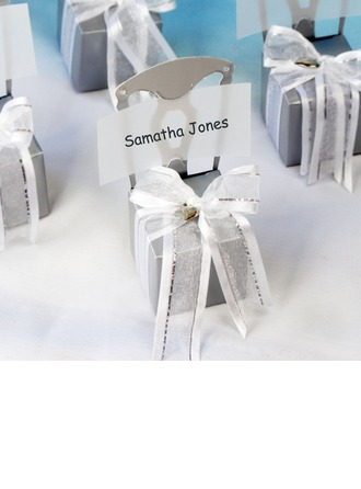 Chair Design Cubic Card Paper Favor Boxes With Ribbons