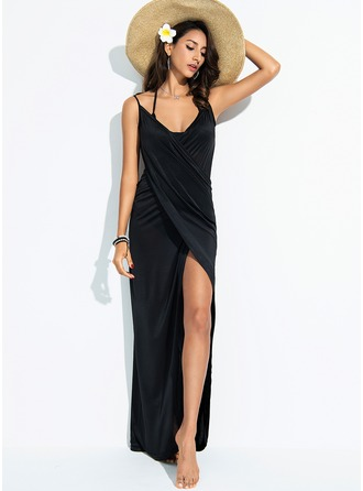 Elegant Solid Color Polyester Cover-ups Swimsuit