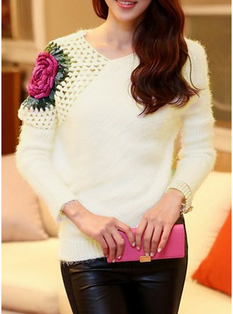Embroidery Acrylic Polyester Round Neck Sweater Sweaters