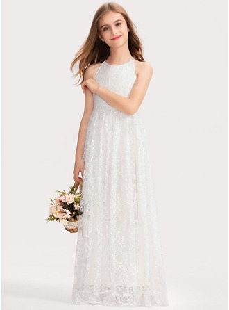 Halter Floor-Length Lace Junior Bridesmaid Dress With Bow(s)