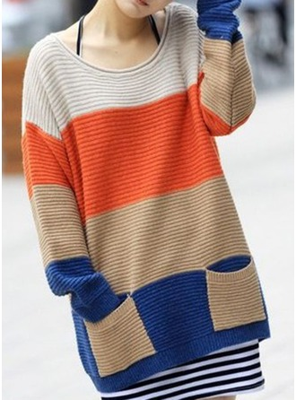 Polyester Round Neck Color Block Sweater