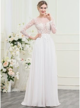 A-Linie/Princess-Linie Off-the-Schulter Sweep/Pinsel zug Chiffon Lace Brautkleid mit Perlstickerei Pailletten Schleife(n)