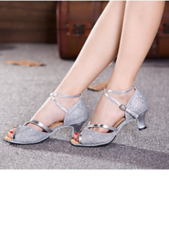 Women's Sparkling Glitter Heels Sandals Pumps Latin With Ankle Strap Hollow-out Sequin Dance Shoes