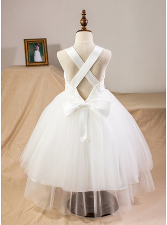 Tea-length Flower Girl Dress - Satin Tulle Lace Sleeveless Straps With Bow(s)