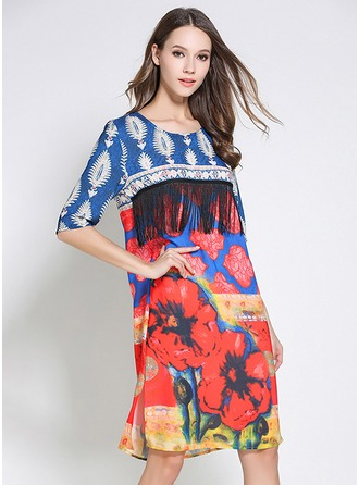 Polyester With Tassel/Stitching/Print Above Knee Dress