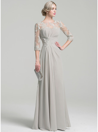 Scoop Neck Floor-Length Chiffon Mother of the Bride Dress With Ruffle