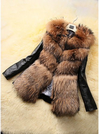 Leather Long Sleeves Shearling Coats ()