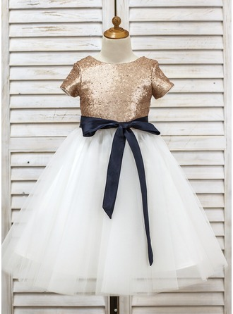 A-Line/Princess Tea-length Flower Girl Dress - Tulle/Sequined Short Sleeves Scoop Neck With Sash