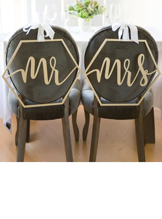 """Mr. & Mrs"" Tyylikäs Puinen Wedding Sign"