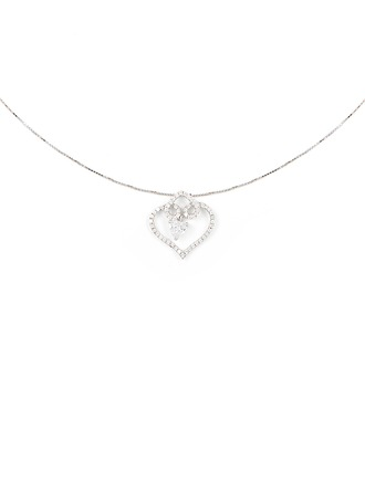 Silver Cubic Zirconia Heart Heart Necklace For Mother/Mom For Girlfriend
