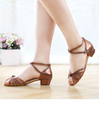Women's Microfiber Leather Heels Sandals Latin Dance Shoes