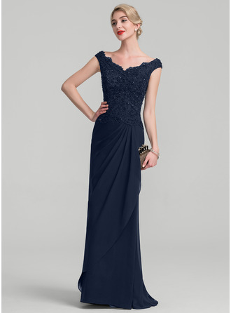 A-Line/Princess Off-the-Shoulder Floor-Length Chiffon Lace Mother of the Bride Dress With Beading Sequins Cascading Ruffles