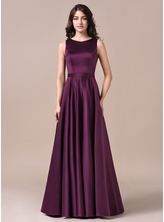 Scoop Neck Floor-Length Satin Prom Dresses