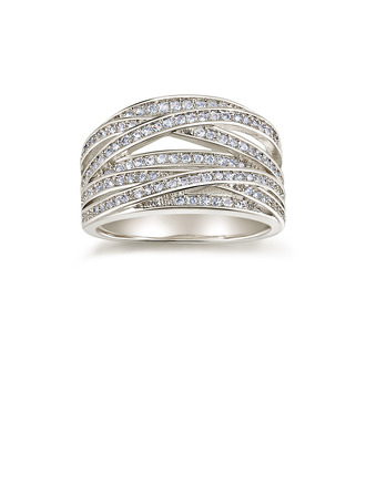 Sterling Silver Cubic Zirconia Twist Milgrain Round Cut Promise Rings Mother's Rings -