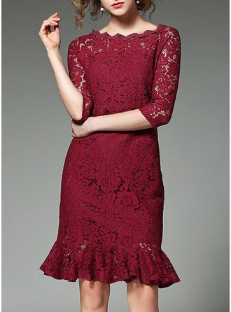 Lace With Lace/Hollow/Ruffles Above Knee Dress