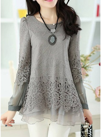 Lace Long Sleeves Chiffon Round Neck Casual Blouses Bluzlar