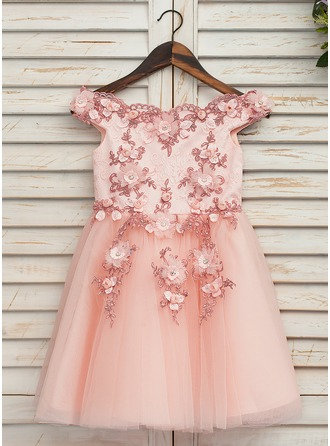 Knee-length Flower Girl Dress - Tulle Lace Sleeveless Off-the-Shoulder
