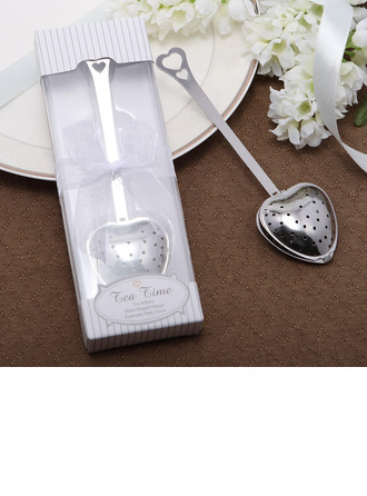 """""""Love Story""""/""""Tea Time"""" Heart Shaped Metal Tea Party Favors With Ribbons"""