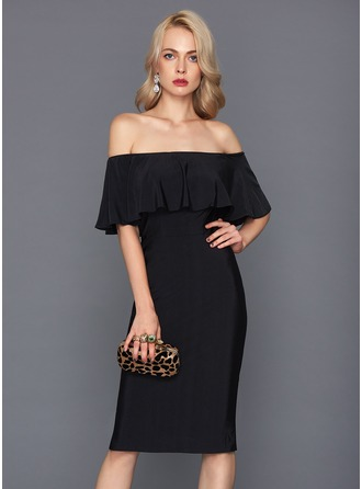 Sheath/Column Off-the-Shoulder Knee-Length Jersey Cocktail Dress