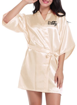 Personalized Bride Bridesmaid Charmeuse With Short Personalized Robes