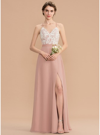 V-neck Floor-Length Chiffon Lace Bridesmaid Dress With Split Front