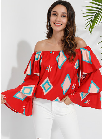 Flare Sleeve Cotton Polyester Off the Shoulder Blouses
