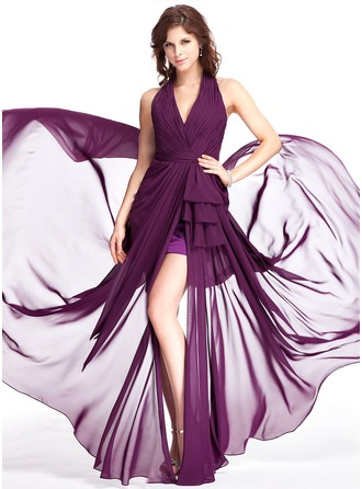 Sheath/Column Halter Sweep Train Chiffon Evening Dress With Ruffle Split Front