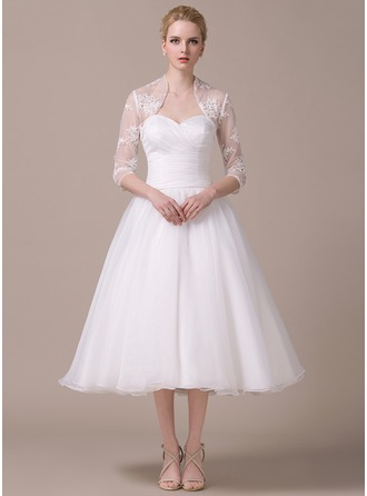 A-Line/Princess Sweetheart Tea-Length Organza Wedding Dress With Ruffle