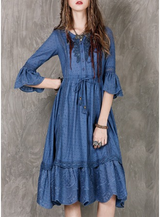 Cotton With Stitching/Embroidery/Ruffles Knee Length Dress