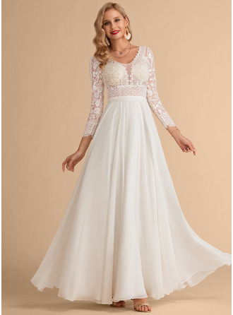 V-neck Floor-Length Chiffon Lace Wedding Dress