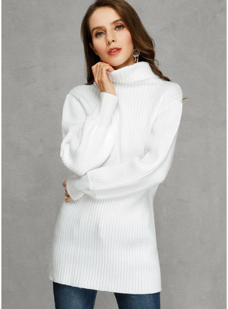 Ribbed Solid Turtleneck Pullovers Sweater Dresses Sweaters