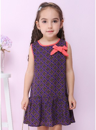 A-Line/Princess Knee-length Flower Girl Dress - Polyester Sleeveless Peter Pan Collar With Bow(s)