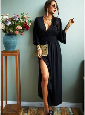 Solid Sheath V-Neck 3/4 Sleeves Batwing Sleeves Maxi Casual Elegant Little Black Dresses