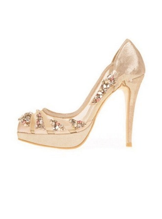 Femmes Mesh Talon stiletto Bout fermé Plateforme Beach Wedding Shoes avec Strass
