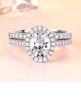 Sterling Silver Cubic Zirconia Halo Oval Cut Promise Rings Bridal Sets