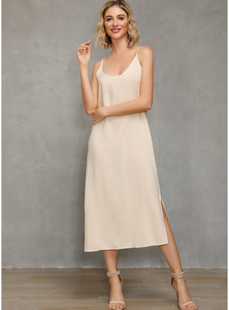 Chiffon With Solid/Slit Midi/Maxi Dress