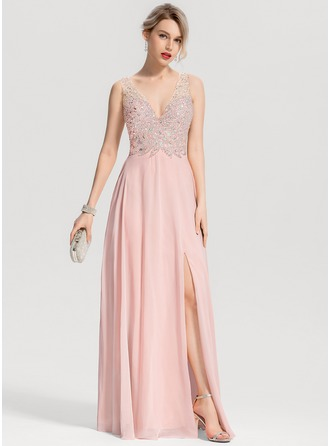 V-neck Floor-Length Chiffon Prom Dresses With Beading Split Front