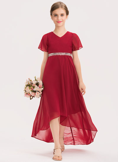 A-Line V-neck Asymmetrical Chiffon Junior Bridesmaid Dress With Beading